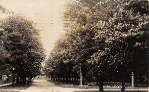 G4/ Wauseon Ohio RPPC Postcard 1908 South Park Scene Trees