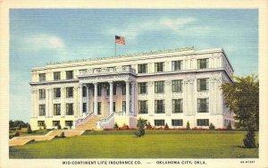 Mid-Continent Life Insurance Co. - Oklahoma City c1940s Linen Vintage Postcard