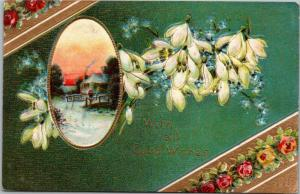 With all Good Wishes - flower and cottage scene bridge embossed - Nebo Illinois
