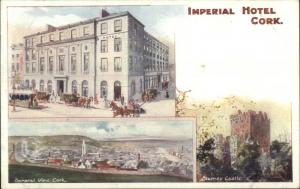 Cork Ireland Imperial Hotel Multi-View c1905 Unusual TUCK Postcard