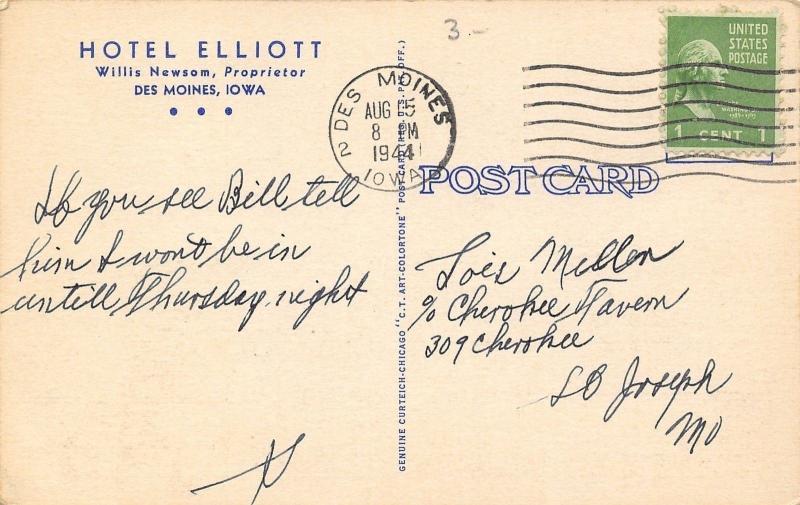 Des Moines Iowa~Hotel Elliot~Lobby Interior~Check in Desk~1937 Art Deco Linen PC