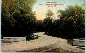 Quincy IL Postcard Drive Entrance Illinois Soldiers & Sailors Home 1912 Cancel