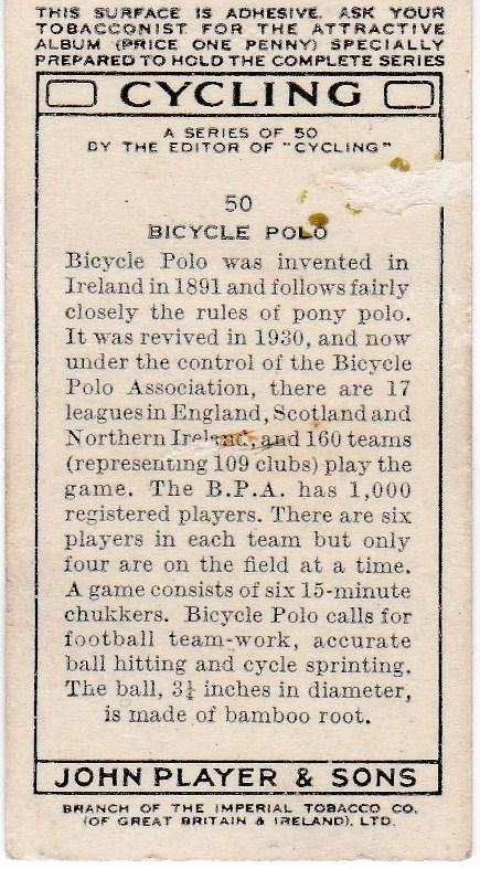 Cigarette Cards Players CYCLING No 50 Bicycle Polo