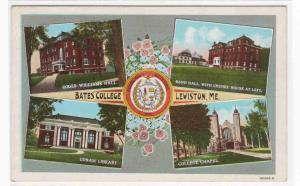 Bates College Multi View Lewiston Maine linen postcard