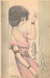 Beautiful Woman Fishing B. Patella Artist Art Nouveau Postcard