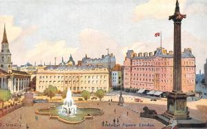 London Painting by Uden Trafalgar Square Aerial general view panorama, fountain