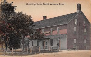 South Amana Iowa~Hotel~Benches on Porch~1908 Handcolored Postcard
