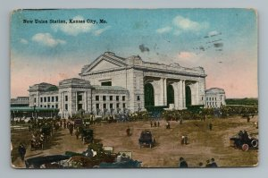 1916 Union Station Kansas City MO Missouri Postcard