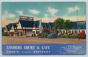Postcard KY Corbin Sanders Court Motel Pure Gasoline Station Pumps Linen L19