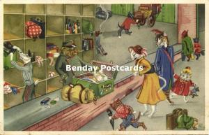 Dressed Cats, At the Customs (1952) Artist Signed Paulsen