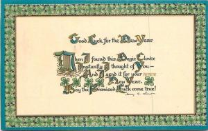 C-1910 Arts & Crafts New Year Sayings postcard 3925