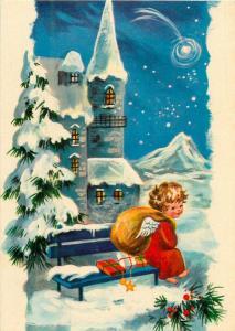 Winter fantasy cupid angel boy caricature gifts star Argentina postcard