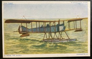 Mint England Early Aviation Color Picture Postcard A Naval Air Scout