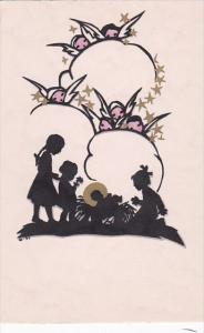 Silhouette Postcard Angels Watching Children and Manger
