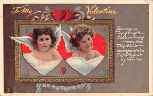 LOVE SONGS ARE RINGING...TUCK CUPID FESTIVAL SERIES VALENTINE POSTCARD c1910