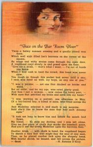 Central City, CO Postcard Face on the Bar Room Floor w/ D'Arcy Poem - Linen