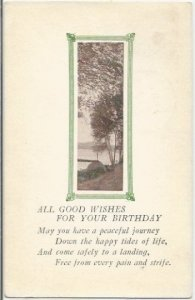 All Good Wishes For You Birthday Beautiful Lake Scene on this Vintage Postcard E