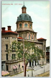 Portland Maine~City Hall~Dearing's Bakery~Employment Office~c1910 Postcard
