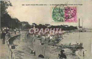 Postcard Old Saint Nazaire Loire Inf Wilson Boulevard and the beach
