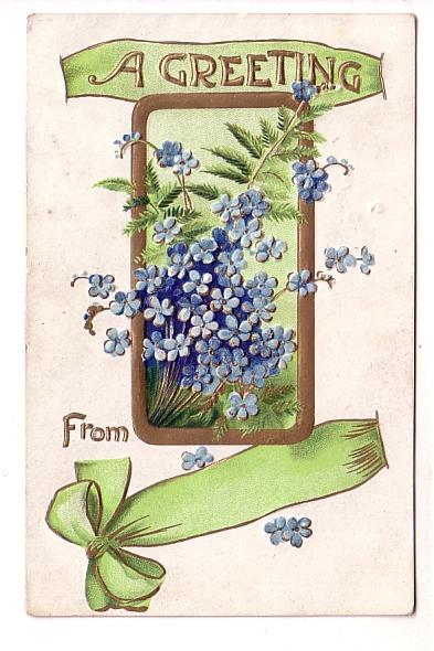 Blue Flowers, Green Ribbon, Embossed, BB London, Windsor Forks Nova Scotia Sp...