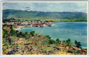 MONTEGO BAY, JAMAICA   View of Town & Hills  1949   Postcard
