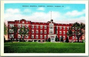 Emporia, Kansas Postcard NEWMAN MEMORIAL HOSPITAL Building View Kropp Linen