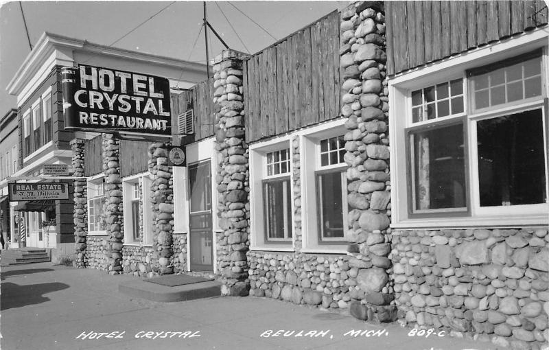 Beulah Michigan Hotel Crystal Restaurant J M Wilhelm Real Estate 1950s Rppc