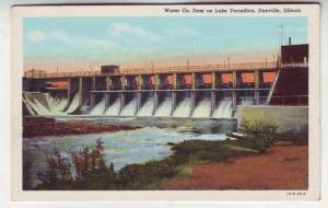 P98 JL old linen postcard dam lake vermilion danville IL.