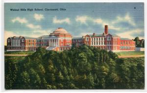 Walnut Hills High School Cincinnati Ohio linen postcard
