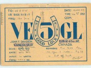 1930s QSL RADIO CARD Vancouver British Columbia BC AH3283