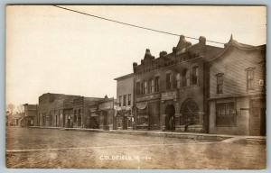 Goldfield IA~Dr Zisk?~Main St~State Bank~No Hotel~Auto Garage~Staver~1915 RPPC