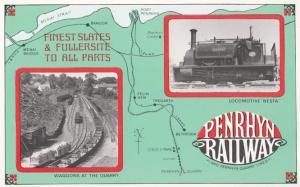 Penrhyn Railway Nesta Train Tregarth Map Quarry Wagons Old Poster Postcard