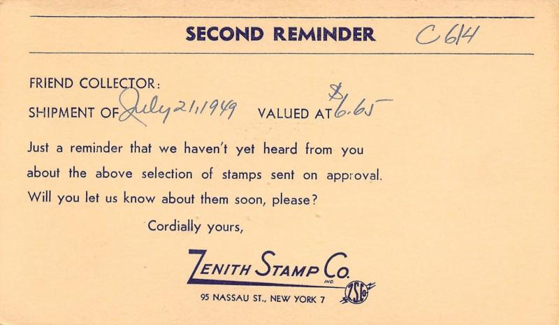 New York City~Zenith Stamp Company~2nd Reminder~Remit For Approvals 1949 Postal