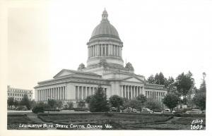 Olympia Washington~State Capiol~Legislative Building~1940s Cars In Front~RPPC