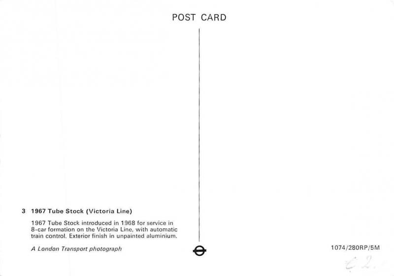London Transport photograph: 1967 Tube Stock (Victoria Line) train