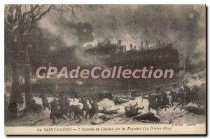 Postcard Old Saint Cloud Fire du Chateau by the Prussians (October 1870)