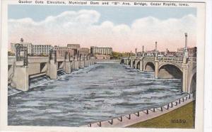 Iowa Cedar Rapids Quaker Oats Elevators Municipal Dam and B Avenue Bridge