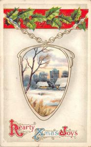 Hearty Xmas Joys 1911 Embossed Postcard Christmas Locket With Snow Scene