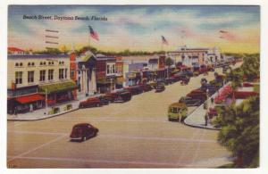 P324 JLs postcard 1946 old cars flags stores daytona beach florida used