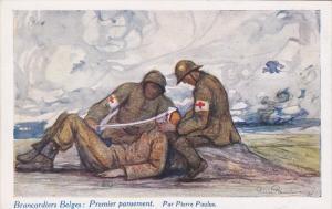 Red Cross ; Brancardiers Belges : Premier pansement. Par Pierre Paulaulus , 1...