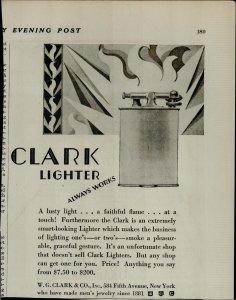 1927 Clark Lighter Always Works Vintage Print Ad 3928