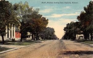 Emporia Kansas~Sixth Avenue Homes~Kids on Sidewalk~Wide Dirt Road~1910 Postcard