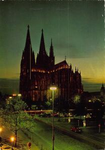 Koln am Rhein Dom Cathedral Street Cars Night view Postcard