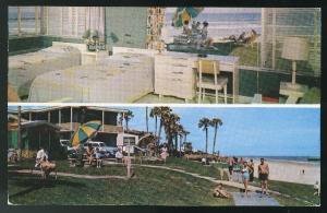 Monterey Motel Daytona Beach FL 1956 Dual View Int Ext Vintage AAA Postcard