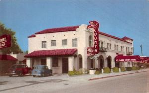 El Paso Texas~Del Camino Courts Motel~US Highway 80~1940s Cars~Chome Postcard