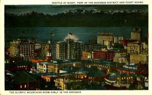 WA - Seattle. Nightview, Puget Sound, Business District