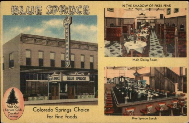 Colorado Springs CO Blue Spruce Multi-View Linen Postcard