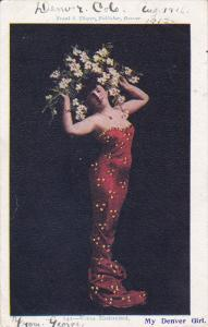 Venus Modernized, Woman wearing red strapless revealing gown, Flowers in her ...