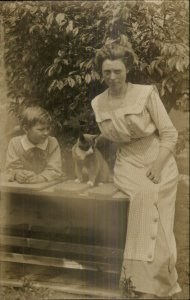 Woman Boy & Kitty Cat +Photography c1910 Real Photo Postcard