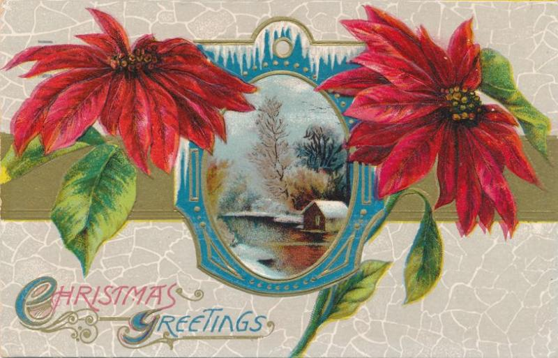Christmas Greetings - Poinsettia and Rural Scene - pm 1912 Rochester NY - DB
